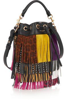 SAINT LAURENT Emmanuelle small fringed textured-leather shoulder bag