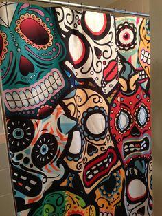 Sugar Skull Shower Curtain Day the Dead Retro Boho Sugar Skull Decor, Sugar Skulls, Candy Skulls, After Life, Shopping Day, Mexican Art, Skull And Bones, Skull Art, Day Of The Dead