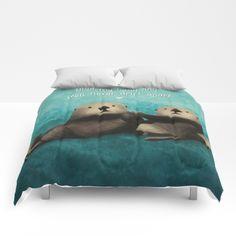 Sea Otters in Love Comforters