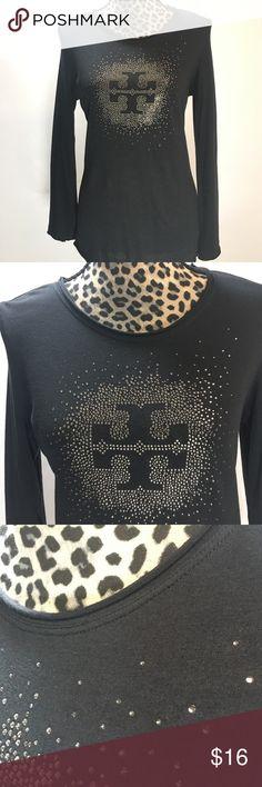 "Tory Burch Long Sleeve T-shirt Tory Burch Long Sleeve T-shirt; Black T-shirt with Gold Crystal Tory Burch Design;  Style # 31102122;  25"" Length, 34"" Bust, 13"" Sleeve Length; 60% Cotton, 40% Modal;  Minimal Underarm Piling ( Last Photo) Tory Burch Tops Tees - Long Sleeve"