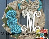 ON SALE Burlap Wreath - Hydrangea Etsy Wreath -Wreaths - Summer wreaths for door  - Spring Wreath Door Wreath - Monogram wreath