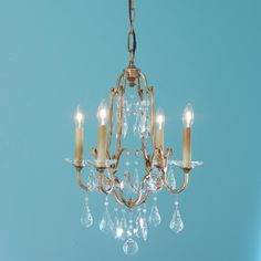 """Elegance Crystal Swag Mini chandelier - 4 Lt: Art Deco era this classic crystal chandelier finished in an oxidized goldleaf. The perfect size for tight spaces such as your powder room. 4 lights (candle base socket; (21.75""""Hx16""""W); 60"""" chain; 5.5"""" canopy; SKU: CH10091 GL;  $399.00"""