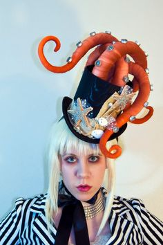"My kitties would love to play with this! My custom couture ""Cat Attacking Octopuss Hat""...."