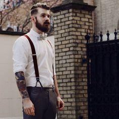 beard and mustache beards bearded man men mens' style suspenders bowtie dapper retro vintage look tattoos tattooed hairstyle hair cut barber #goodhair #beardsforever