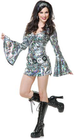 Sexy Metallic Silver Disco Queen Diva Funky Go Go Girl Costume Costume Disco, Costume Craze, 70s Costume, Queen Costume, Abba Costumes, Girl Costumes, Costumes For Women, Jazz Costumes, Period Costumes