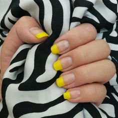 yellow french - it's quite messy but I love the end result :p (Nail polish from Maybelline Color Show Sweet Sunshine)