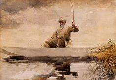 Winslow Homer Fishing in the Adirondacks Water & Reflections in Watercolor | Paint Watercolor Create http://paintwatercolorcreate.blogspot.com/2014/09/water-reflections-in-watercolor.html