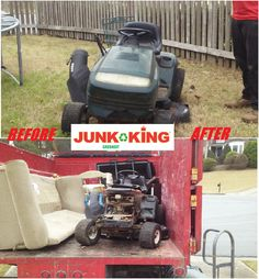It was just another Manic Monday here at Junk King! Do you have a lawn mower that has gone kaput but you don't have the time to haul it away yourself? No problem at all! Our team will come haul it away for you at your convenience! Give us a call or book online with us! In the mean time enjoy this awesome before and after! #junk #junkremoval #lawnmower #springtime #greatserviceasstandard #beforeandafter