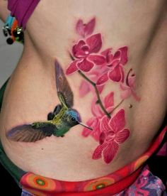 Realism, full color, colorful, orchid flowers, hummingbird tattoo
