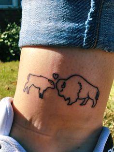 Hand Tattoos, Tatoos, Bison Tattoo, Baby Bison, Western Tattoos, Tattoo Ideas, Tattoo Designs, Life Crisis, Different Tattoos