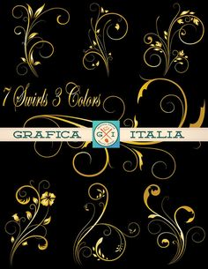 Elegant SWIRLS Clipart Download - Vintage 3 Colors DIY Design Elements, Scrapbooking and Crafting Supplies, Decorative Paper Goods Clip Art by graficaitalia on Etsy