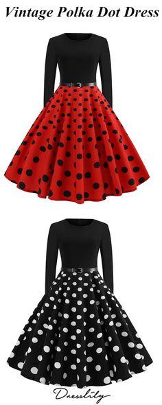 f5c08ba1d95 Vintage Long Sleeve Polka Dot Pin Up Dress.  dresslily