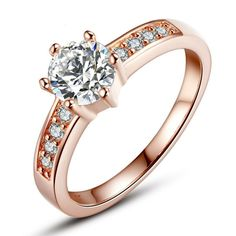 Real 18K Rose Gold Plated Ring for Women with Paved Micro AAA CZ Christmas Jewelry