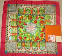 """HERMES Vintage Silk Scarf """"les jardins d'Andalousie"""" Red, green, orange (New)"""
