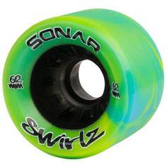 Riedell - Sonar Swirlz (4 pack) - Indoor Recreation Roller Skate Wheels - California Roller Skates