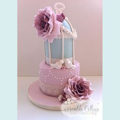Small but darling Birdcage Wedding cake from Bumble Cottage.