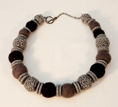Felt, Knitted Cotton and Polymer Clay Necklace £55.00
