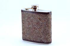 Vintage Tweed Wrapped FLASK  6oz by KeelanRogue on Etsy