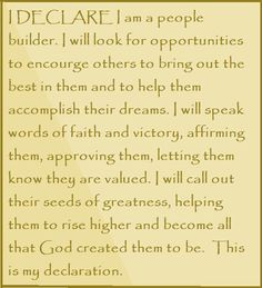 """I DECLARE I am a people builder... Day #23 of """"I Declare: 31 Promises to Speak Over Your Life"""" by Joel Osteen"""