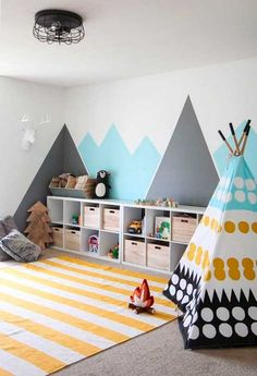 55 Good DIY Playroom for Kids Decorating Ideas Kids Room Design Decorating DIY good Ideas Kids Playroom Modern Playroom, Playroom Design, Playroom Decor, Kids Room Design, Bedroom Decor, Wall Decor Kids Room, Small Playroom, Modern Kids Decor, Bedroom Furniture