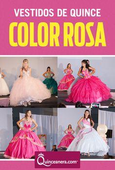 Bonita en vestidos de Quince color rosa!