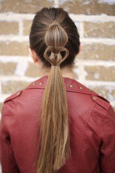 Heart Ponytail | Valentine's Day Hairstyles #heart #hairstyles #hairstyle #cutegirlshairstyles #ponytail