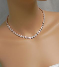 Rose Gold Bridal Necklace Crystal Wedding by CrystalAvenues Diamond Necklace Simple, Crystal Necklace, Diamond Bracelets, Diamond Jewelry, Choker Necklaces, Dimond Necklace, Etsy Necklaces, Pearl Diamond, Dainty Necklace