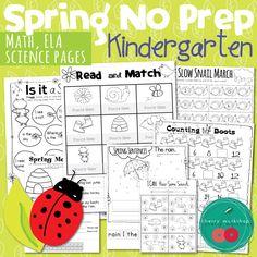 Spring Worksheets for Kindergarten No Prep Pack Kindergarten Math ELA and science.