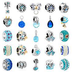 Pugster Aquamarine Blue Crystal Silver/P Flower European Bead Fit Charm Bracelet