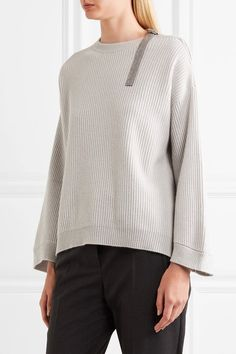 Brunello Cucinelli - Beaded Ribbed Cashmere Sweater - Light gray