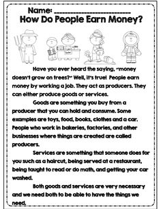 How do people earn money reading with comprehension questions part of 31 page early elementary econ unit! 3rd Grade Social Studies, Social Studies Worksheets, Social Studies Activities, Teaching Social Studies, Economics For Kids, Teaching Economics, Student Teaching, Economics Lessons, Comprehension Questions