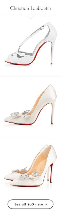"""""""Christian Louboutin"""" by alejaborrayo ❤ liked on Polyvore featuring shoes, white shoes, louboutin, champagne shoes, off white shoes, pumps, heels, white, sandals and white satin"""