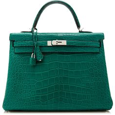 Heritage Auctions Special Collections 35Cm Hermes Malachite Matte Alligator Retourne Kelly ($79,500) found on Polyvore
