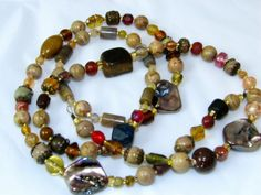 Woodsy Agate and Glass Beaded Eyeglass Necklace by nonie615, $25.00 I can convert to a key or id badge lanyard as well.  SALE thru Cyber Monday 25% off orders over $25.  Free 1st Class USPS shipping.