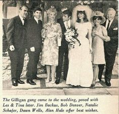 In 1966, 'the movie star,' Ginger on Gilligan's Island got married in real life to Les Crane. The Gilligan crew all came to Tina Louise's wedding. Tina's not married these days but she's still with us and is 80. She and Dawn Wells are the 2 surviving Gilligan cast members.