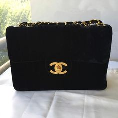 e5c223bd4612 Authentic Chanel Bag Black Velvet Jumbo Flap Shoulder Top Handle Bag GHW