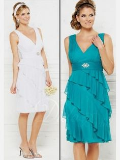 Tiered V-neck Ruched Knee-length Bridesmaid Dress beautiful