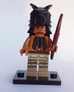 NEW CUSTOM LEGO INDIAN WARRIOR w (brick warrior) WOLF PELT DUAL HEAD COWBOY  #LEG0