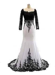 Sunvary White and Black Long Sleeves Mermaid Mother of the Bride Groom Dresses Formal Prom Gowns - US Size 4 Sunvary http://www.amazon.com/dp/B01469BY78/ref=cm_sw_r_pi_dp_d.mawb0S5D9GZ