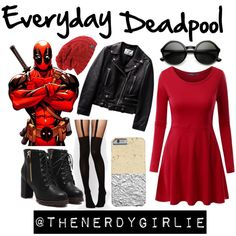 Everyday Deadpool by thenerdygirlie on Polyvore featuring mode, Doublju, ASOS, ZeroUV and Poste