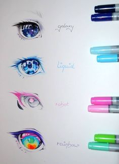 Eye Reference - make up rainbowGalaxy, Liquid, Robot, Rainbow! Eye Reference - make up rainbow What colour do you want as your eyes ? Realistic Eye Drawing, Drawing Eyes, Drawings Of Eyes, Pencil Drawings, Manga Drawing, Marker Drawings, Figure Drawing, Eye Art, Drawing Reference