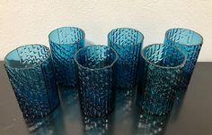Nanny Still Petroleum Blue 'Flindari' Liqueur Glasses (Set of 6 Glasses) - Finnish Vintage Glass Design From Riihimäen Lasi, Finland