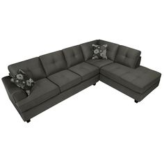 Chase Charcoal Grey Sectional Sofa | Overstock.com Shopping - Big Discounts on Sectional Sofas