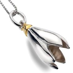 Sterling silver jewellery, Pretty Sterling Silver and Gold Snowdrop Pendant
