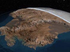 Simulação feita por cientistas da Nasa e da British Antarctic Survey de uma Antártica sem gelo