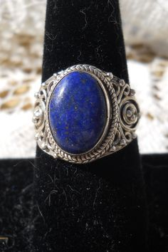 Dazzling Lapis in an ornate Sterling Silver setting.  Size 8    $32.50