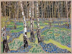 Billy Childish (British, b. 1959): birches with bluebells, 2016. Oil and charcoal on linen. Courtesy the artist and Carl Freedman Gallery, London, UK. Photo: Andy Keate.