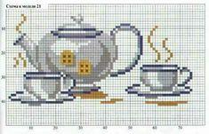 Sewing Station, Cross Stitch Charts, Cross Stitch Patterns, Bule, Plastic Canvas, Cross Stitching, Le Point, Needlepoint, Tea Pots