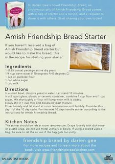 Amish bread starter My mom used to love making thisIt. This is so good and you n… Amish bread starter My mom used to love making thisIt. This is so good and you never lose the recipe because its an on going starter recipe! Amish Recipes, Old Recipes, Vintage Recipes, Cooking Recipes, Recipies, Dutch Recipes, Easy Recipes, Friendship Cake, Friendship Bread Recipe