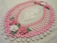 tapete ganchillo rosa decoración casera hecha a mano en el